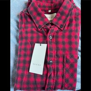 Gucci Mens Checked Wool Cotton Red Shirt Size 15.5